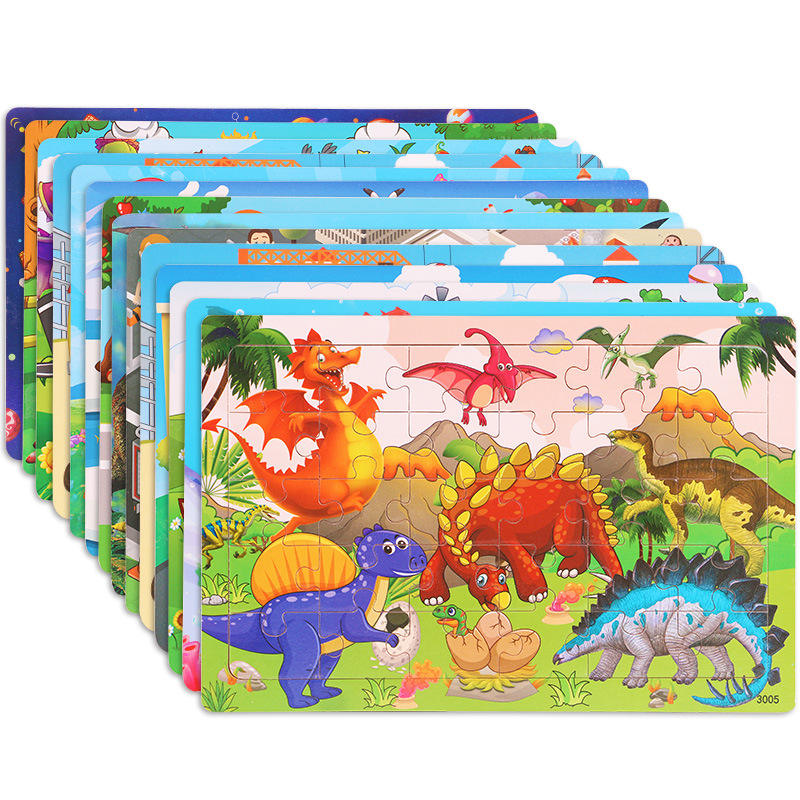 Wholesale 30 Piece Jigsaw Puzzle Children's Cartoon Pattern Intelligence Baby Early Education Enlightenment Wooden Toy