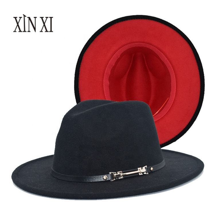 Wholesale Winter Vintage Jazz Red Bottom Two Tone Fedora Hat Couple Cap Wool Felt Wide Brim Fedora Hat For Women Men
