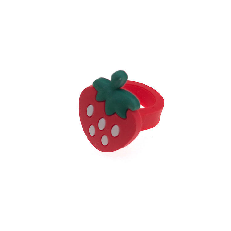 Wholesale Rubber Fruits Apple Banana Strawberry Blueberry Watermelon ring/ Silicone Ruber Ring/Child Party Finger Ring