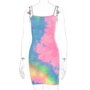 Trendy Fashion Sleeveless Strap Girl Casual Bodycon Clothing Mini Tie Dye Summer Dresses Women