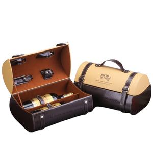New arrival customized high grade red wine two bottles eco PU leather portable packing suitcase box