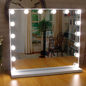 Wholesale Lighted Standing LED Cosmetic Mirrors Wall Mounted 16 Dimmable Bulbs Vanity Hollywood Makeup Mirror with light bulbs