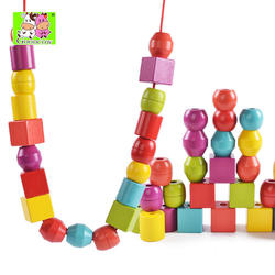 Dingniu new children's educational and early childhood education shape building block with rope children's wooden toys