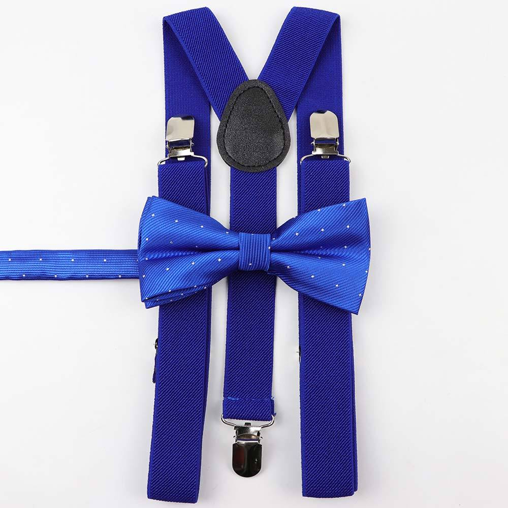 Solid Color Man's Belt Bowtie Set Men Women Suspenders Polyester Y-Back Braces Star Silver Point Bow Tie Adjustable Elastic