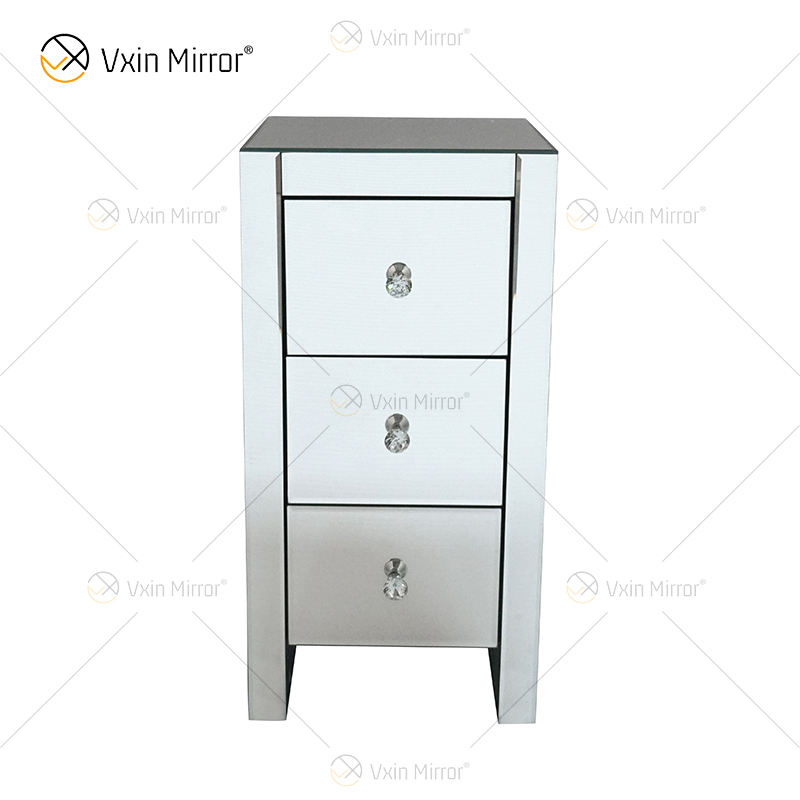 Factory Modern WXF-032 Three Drawer Silver Glass Mirrored Nightstand