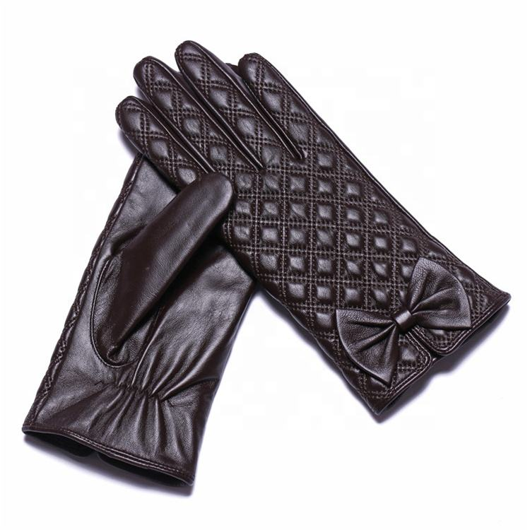 Brown long unlined winter warm women driving bicycles ski leather gloves