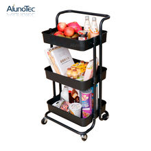 3-Tier Movable Organizer Kitchen Home Storage Rack Utility Rolling Trolley Cart