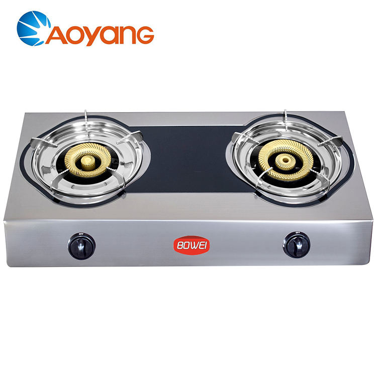 Factory Directly Sell Price Stainless Steel Top Portable Gas Stove 2 Burner