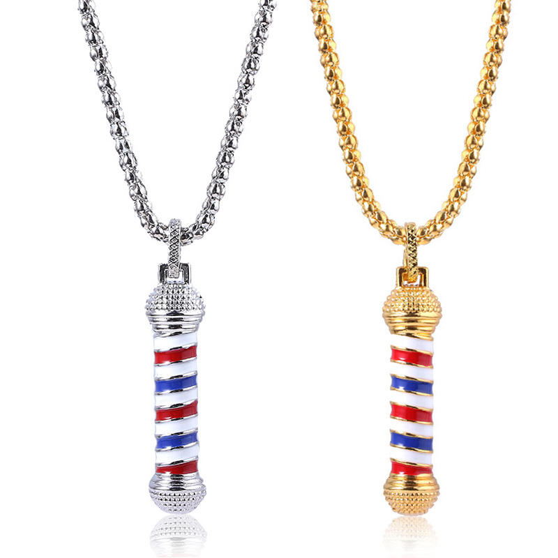 Barber Shop Pole Turn Light Logo Chain Pendant Necklace