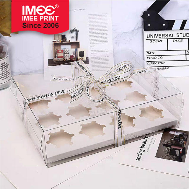 IMEE Grid 6 Grid 4 Grid Paper Cup Cake Packaging Box 4 Transparent Muffin Cup Dessert Packaging Baking Box Western Point Cup