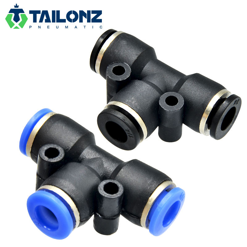 Tailonz Air Hose Fittings Types T Shape 3-Way Pneumatic PE Tee Tube Connector Pipe Fitting 4mm 6mm 8mm 10mm 12mm 1/4 3/8 1/2