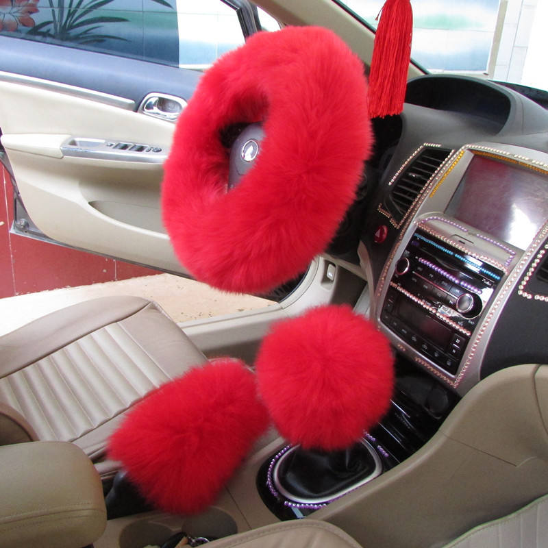Fashionable cheap car accessories adjustable size elastic faux sheep fur car steering wheel cover sets matching car fur seat