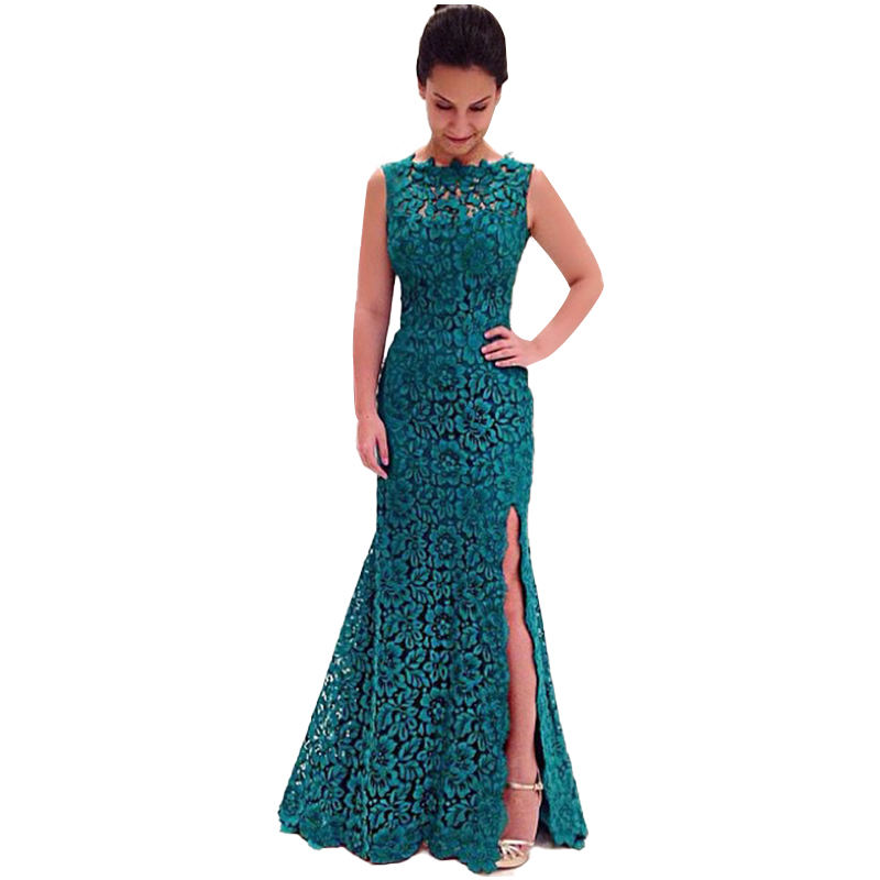 Women's sexy dressace E Mosaic lace dresses women solid color fashion formal evening dress