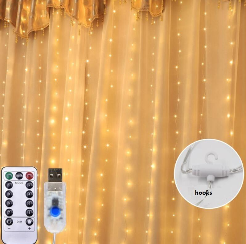 factory outlets twinkle star USB 300 LED copper wire curtain string lights with remote control