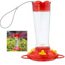 10 Oz Outdoor Hanging 5 Nectar Feeding Stations Hummingbird Feeder Made from Glass Bright Red