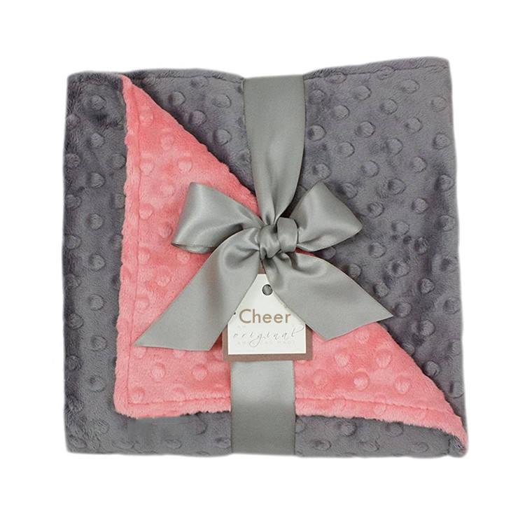 Luxury China Personalized Minky Knit Fleece Plush White Month Baby Blanket Gift Set In Bulk