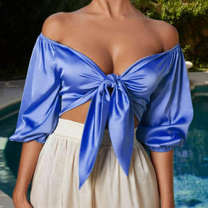 Summer Bow Sashes Silk Satin Ladies' Blouses V Neck Sexy Woman Off Shoulder Crop Tops Mujer Y Blusas Fashionable