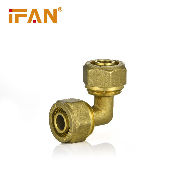 Ifan PEX pipe brass fittings pipe yellow Color Female elbow brass compression fitting brass tap