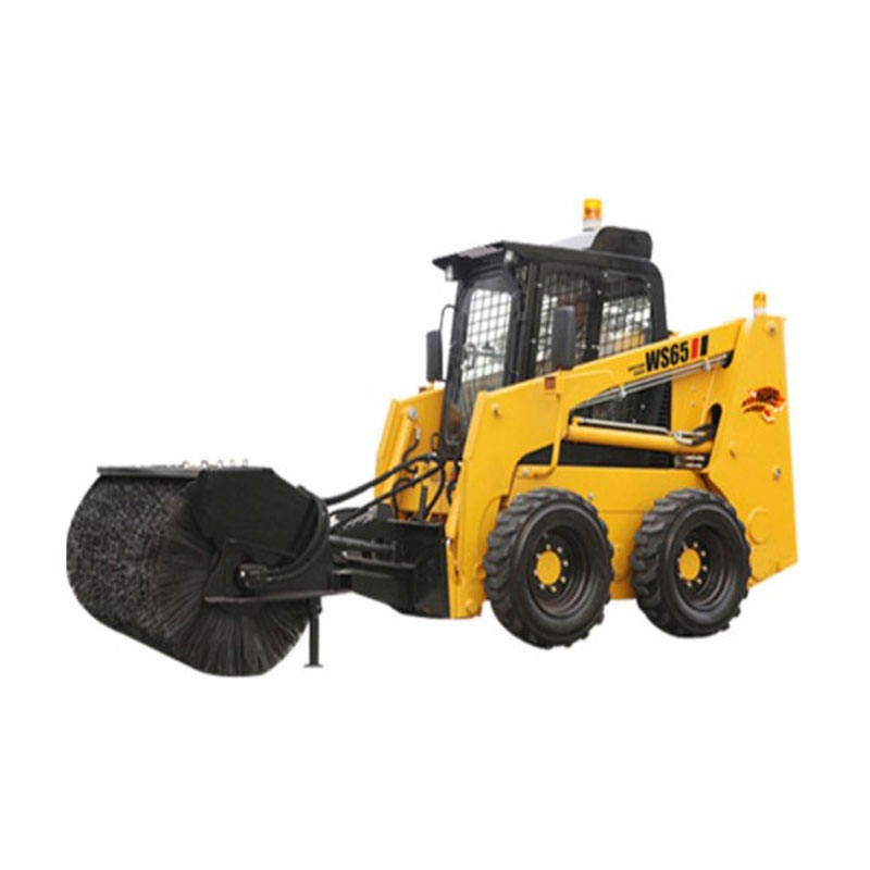 ws65 china 65hp mini small skid steer Angle Broom Sweeper loader for sale