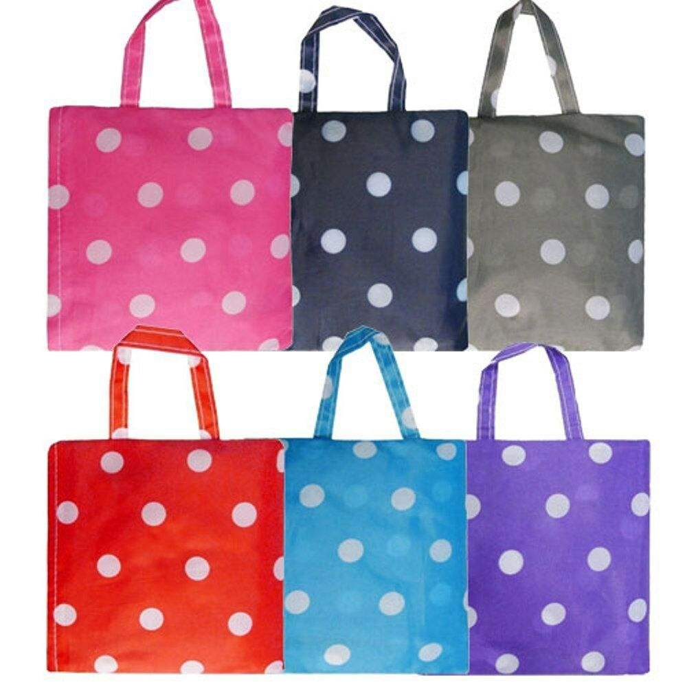 REUSABLE SHOPPING BAG ECO FOLDING RECYCLE TOTE SHOPPER POLKA DOT UK SELLER