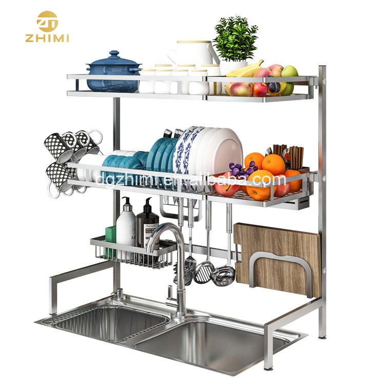 Over the Sink 3 Layer Large Kitchen Storage Holder Dish Drainer Rack With Cup Rack