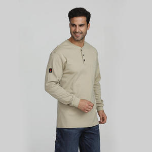 NFPA 2112 Flame Resistant 100% Cotton Knitting FR Henley Shirt