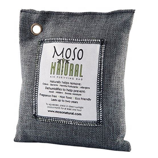Moso Natural Air Purifying Bag. Odor Eliminator for Cars, Closets, Bathrooms and Pet Areas. Captures and Eliminates Odors