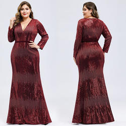 A009 in stock maxi mother dress Women's Deep V-Neck Sequin wedding mother Dress with Long Sleeve