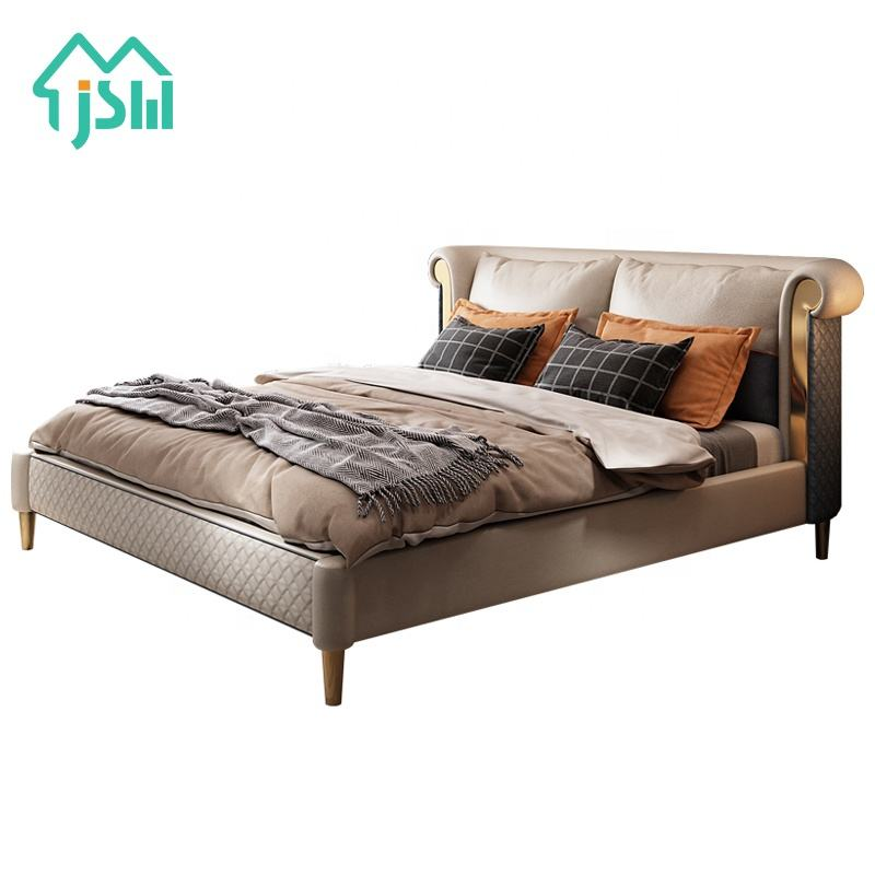 Luxury Leather Bed Simple Modern Bedroom Double Bed Wedding Bed Furniture