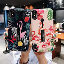 For iphone XR/XS MAX /6s 6 7 8 Plus Fashion 3D Print Flamingo Floop Ring Phone Cases For iphone 7 Case Hide Stand Holder Cover