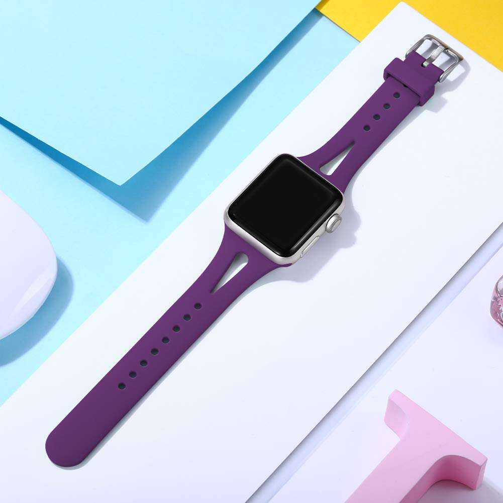 Narrow Apple 6 Watch Band Replacement for iWatch SE 6 5 w26 Colorful Silicone Band 44mm 38mm