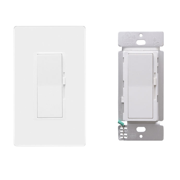 3-Way/Single Pole Decorative LED Slide Dimmer Rocker Switch Electrical light Switch screwless Wall Plate Incuded