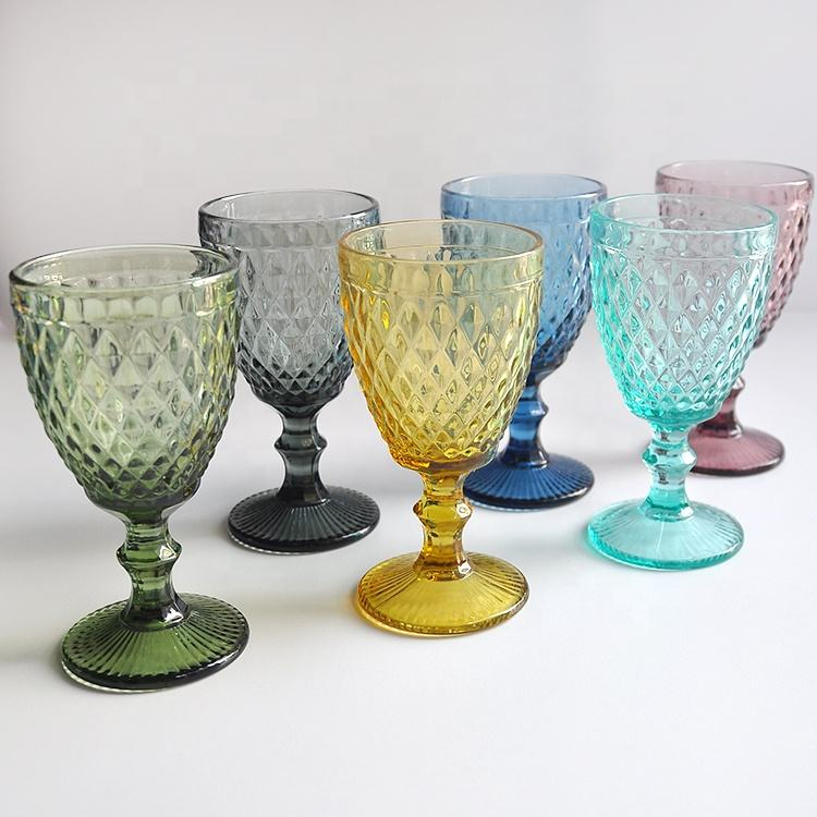 wholesale cheap black/blue/purple/green glass wine glasses water goblet embossed glassware set