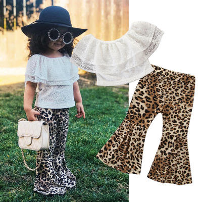 2019 Girls Summer Suit New Children's Solid White Lace Ruffles Tops Casual Leopard Flare Pants Two-piece Outfits