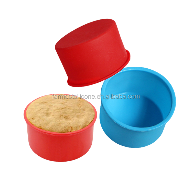 4 Inch Round Baking Pan Easy Releasing Silicone Cake Pan Round Cake Mold Silicone Bakeware for Mini Cake Pizza Cornbread