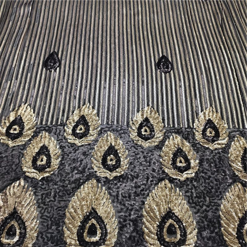 QAHX3-096-Eco friendly peacock style embroidered black/gold spark sequin lace fabric