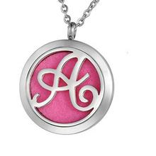 Custom Stainless Steel Jewelry Necklac Aromatherapy Essential Oil Diffuser Necklace Initial Alphabet A-Z Letter Locket Necklace