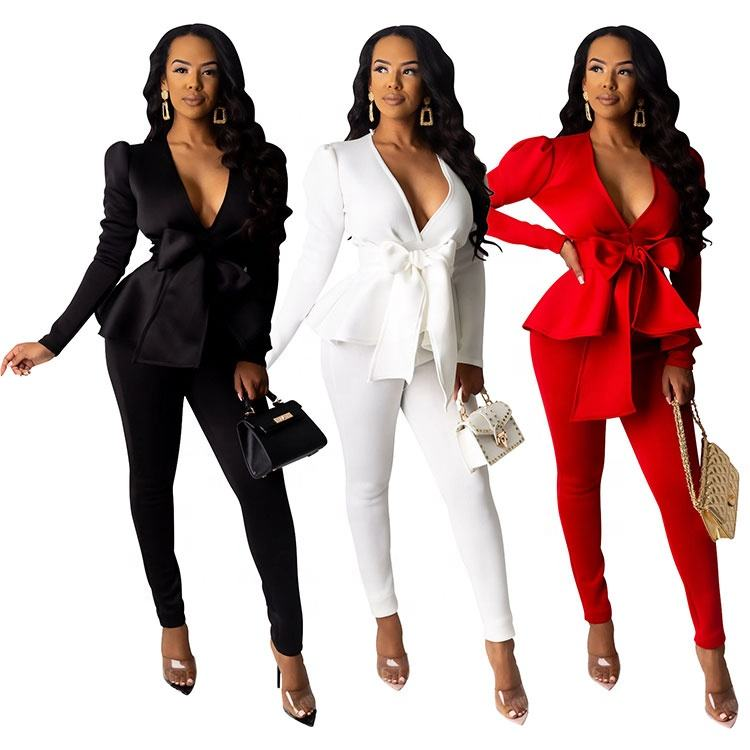 White Dress Pants Long Sleeve Splash High Collar New Ladies Skirt And Crop Top Two Pieces Set Women Bodycon