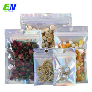 1 oz stand up pouch 3 side sealed clear front pain holographic packaging small ziplock bags for jewelry