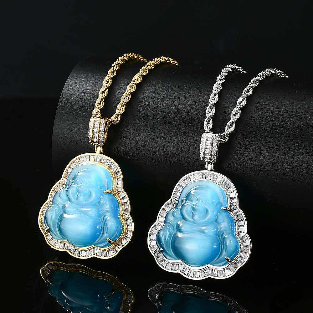 QK003 Fashion Hip Hop Jewelry Pink Green Red Jade buddha pendant iced out Necklace Luxury Cubic Zirconia Opal Buddha Necklace