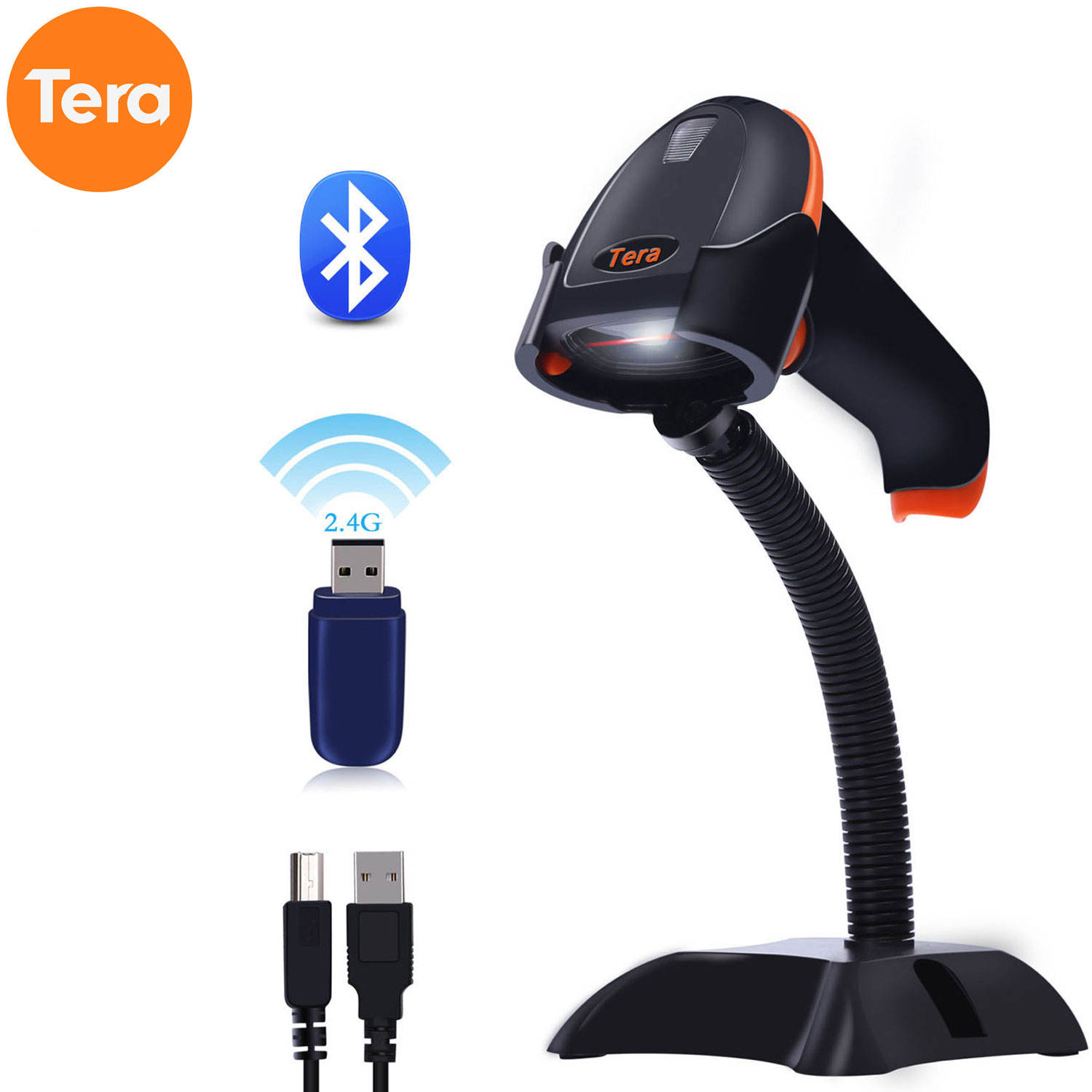 Tera 3 in 1 Wired&Wireless barcode scanner Bluetooth scanner barcode Digital 1D 2D QR Barcode Scanner with Hands Free Stand