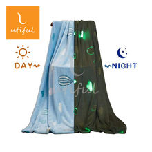 Super soft glow in the dark luminous flannel coral fleece blanket throw For Sofa