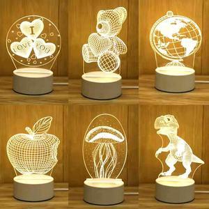 3D illusion led lamps Cartoon Cute Baby sleeping light base oem artwork 3d acrylic night light