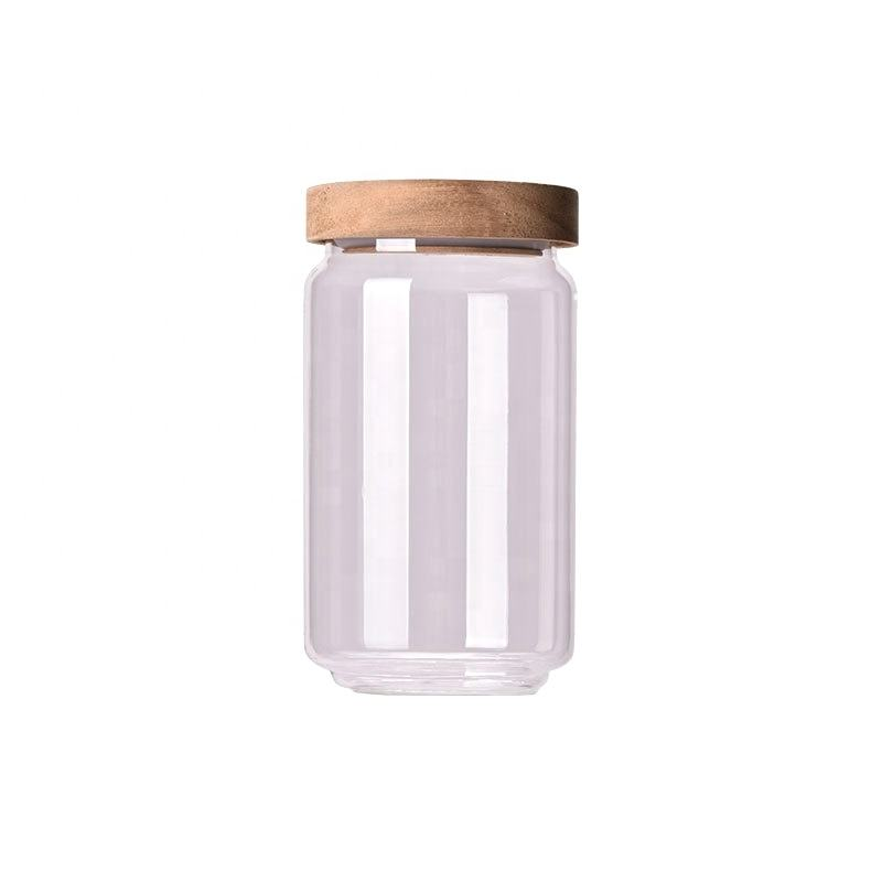 Eco friendly borosilicate glass storage jars with lid food kitchen glass jar