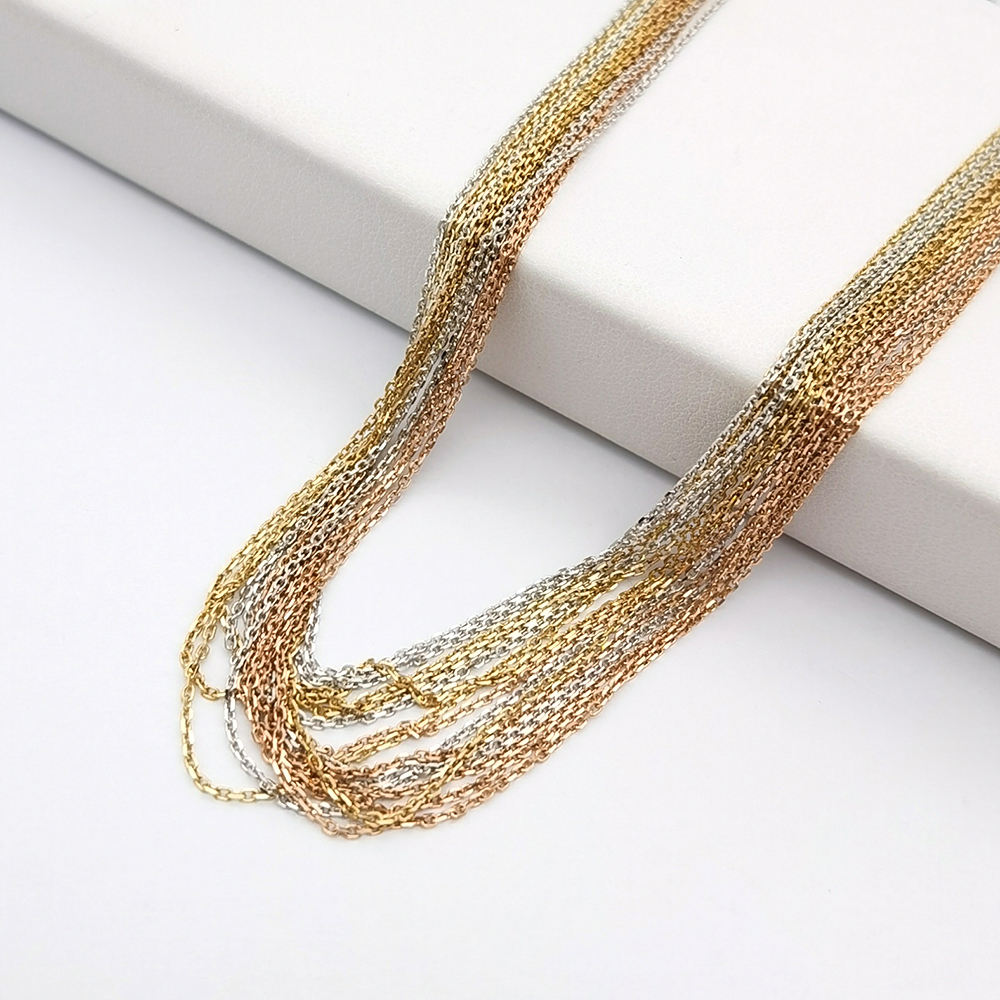 9K 14K 18K Real Gold Cross Chain Necklace Wholesale, Solid Gold Cable Cross Chain Women Jewelry