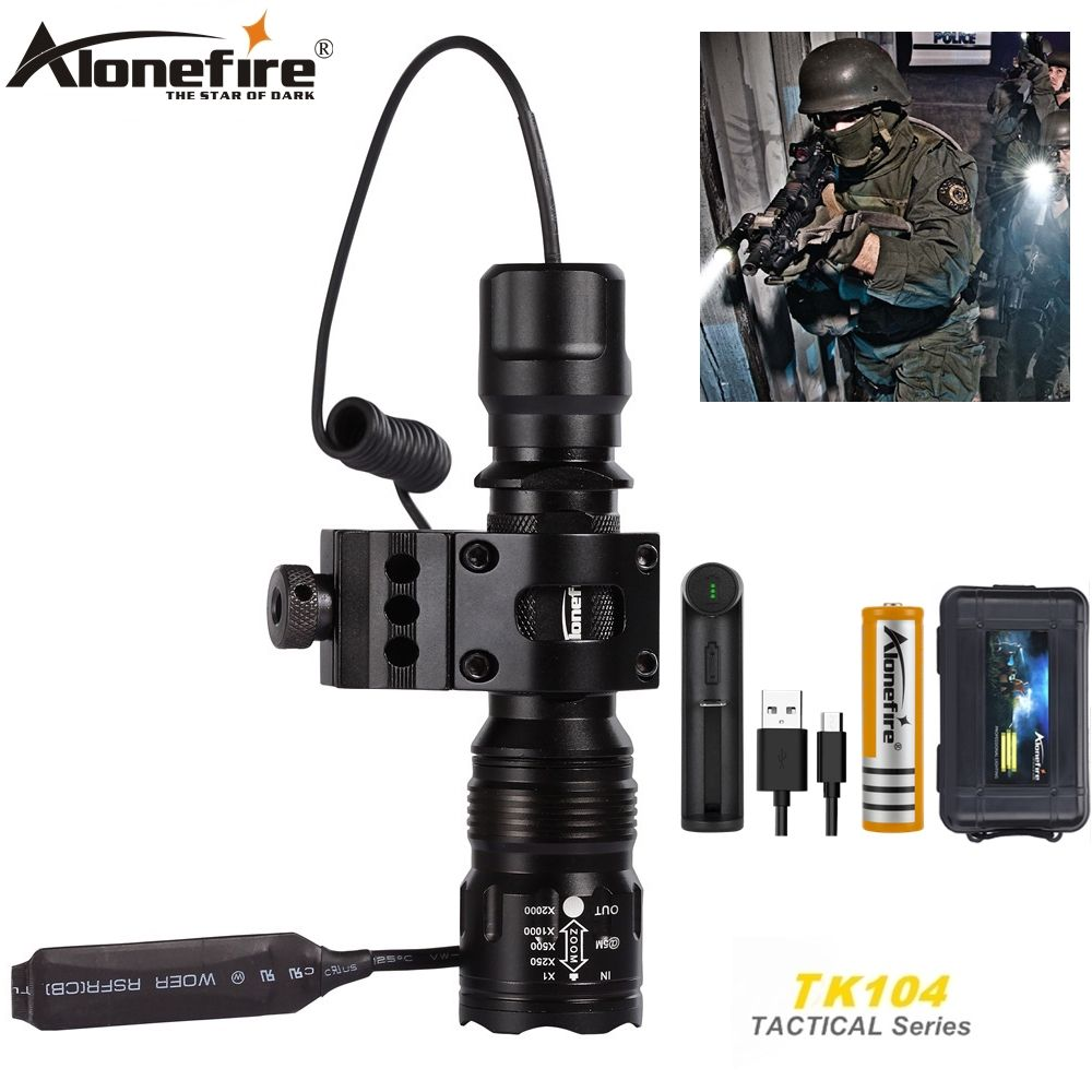 Alonefire TK104 XM-L2 LED Zoom Tactical flashlight lamp 20mm scope mount Airsoft Rifle Shot Gun Hunting High power Torch light
