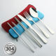 Portable stainless steel cutlery 304 spoon fork knife chopsticks and straw travel cutlery set