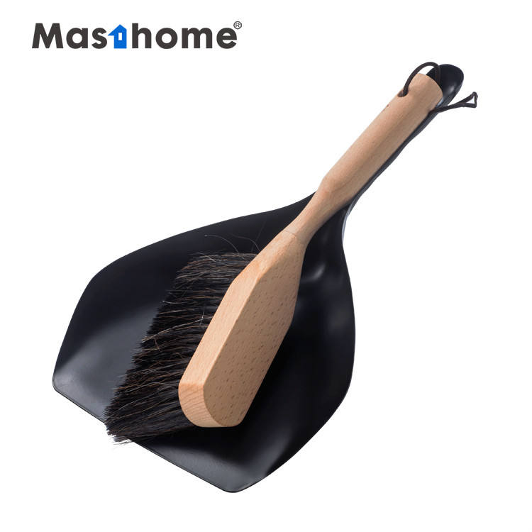 Masthome Metal short handle cleaning dustpan with wooden handle brush broom and dustpan set