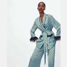 Pink Blue Print Kimono Jacket With Feather Sleeves Wide Leg Pants Two Piece Women Vintage Trousers Clothing Suits Y12099