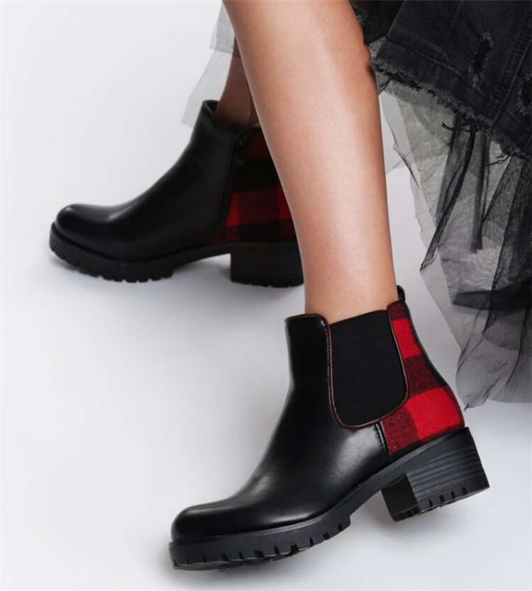 check gingham women multicolored short lady with thick heel women boots